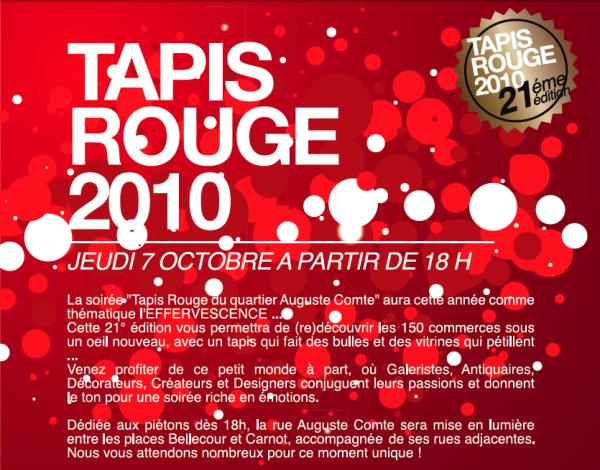 N Oubliez Pas Le Tapis Rouge Ce 7 Octobre Rue Auguste Comte Lyon