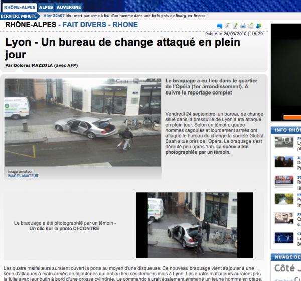 Hold Up à Lyon le 24 septembre 2010